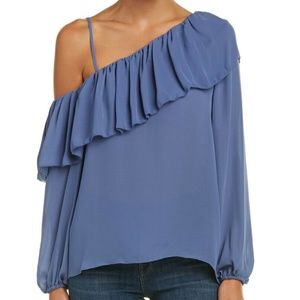 Parker- Blue Silver Off One Shoulder Ruffle Blouse